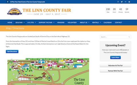 Screenshot of Maps & Directions Page thelinncountyfair.com - Map / Directions | The Linn County Fair - captured Nov. 9, 2016