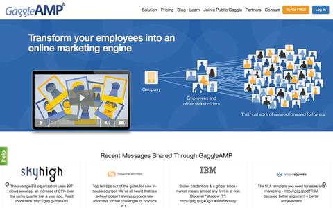 Screenshot of Home Page gaggleamp.com - GaggleAMP: Employee Advocacy & Engagement Made Easy - captured Sept. 19, 2015