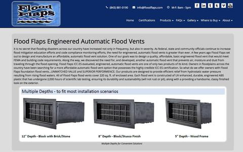Screenshot of Products Page floodflaps.com - Flood Flaps Flood VentsFlood Vents, Product Guide - captured Aug. 17, 2018
