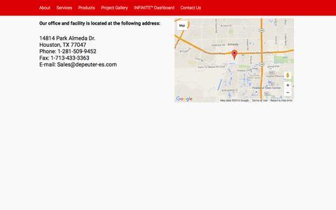 Screenshot of Contact Page depeuter-es.com - Contact Us | - captured Feb. 8, 2016