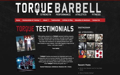 Screenshot of Testimonials Page torquebarbell.com - TORQUE BARBELL – Strength, Performance, Athletics, Fitness - Toronto Gym - Personal Training Etobicoke – Testimonials - captured Dec. 3, 2016