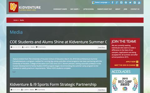Screenshot of Press Page kidventure.com - Media : Kidventure - captured Sept. 26, 2016
