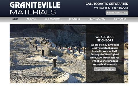 Screenshot of Home Page granitevillematerials.com - Graniteville Materials - captured July 21, 2018