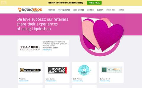 Screenshot of Case Studies Page liquidshop.com - Liquidshop customers share their experiences - captured Sept. 30, 2014