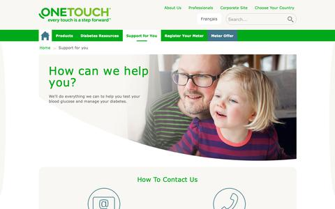 Screenshot of Contact Page Support Page onetouch.ca - Diabetes Help & Support Every Step Of The Way | OneTouch® - captured Oct. 18, 2018