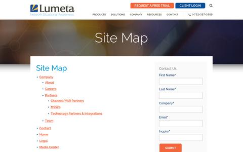 Screenshot of Site Map Page lumeta.com - Site Map | Lumeta - captured Feb. 2, 2016