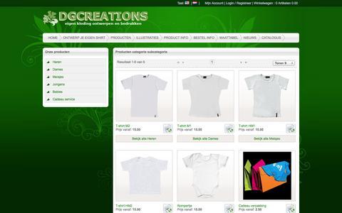 Screenshot of Products Page eigenkledingbedrukken.nl - Products - captured Oct. 5, 2014