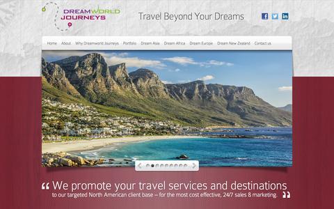 Screenshot of Home Page dreamworldjourneys.com - Dreamworld Journeys   Travel Beyond Your Dreams - captured Sept. 30, 2014