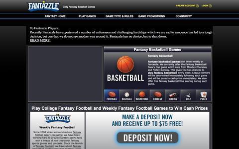 Screenshot of Home Page fantazzle.com - Fantasy Football Games - Salary Cap Football - College Fantasy Football - captured Feb. 9, 2016