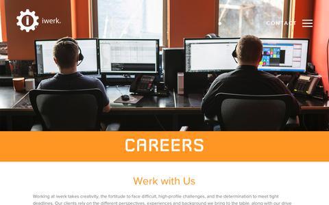 Screenshot of Jobs Page iwerk.com - Careers - iwerk® - Metro Detroit, MI | Dallas/Ft. Worth, TX - Software Development and Technical Services - captured Sept. 20, 2018