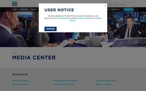 Screenshot of Press Page nyse.com - NYSE: Media Center - captured May 24, 2018