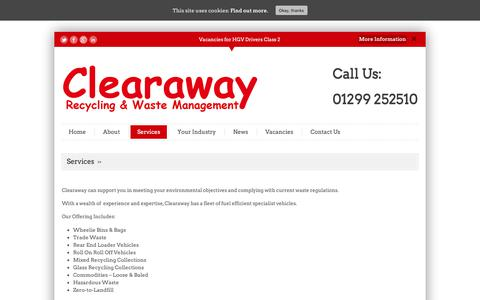 Screenshot of Services Page clearaway.uk.com - Services - Clearaway - captured Sept. 27, 2018