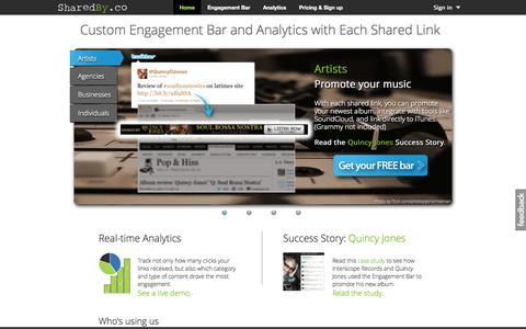 Screenshot of Home Page sharedby.co - SharedBy Engagement Bar & Social Analytics - captured Sept. 13, 2014