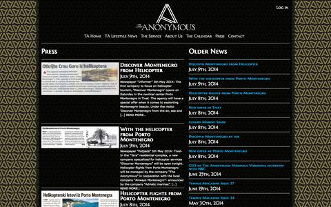 Screenshot of Press Page the-anonymous.com - Press | The Anonymous - captured Oct. 9, 2014