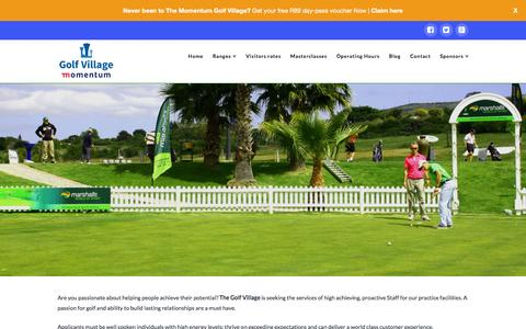 Screenshot of Jobs Page thegolfvillage.co.za - Careers at The Golf Village - captured Jan. 23, 2016