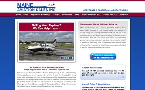 Screenshot of Home Page maineaviationsales.com - Maine Aviation Sales Inc. - Corporate & Commercial Aircraft Sales - captured Sept. 30, 2014