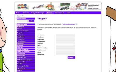 Screenshot of Contact Page speelgoedtrading.nl - Contact - Speelgoedtrading - captured Oct. 9, 2014