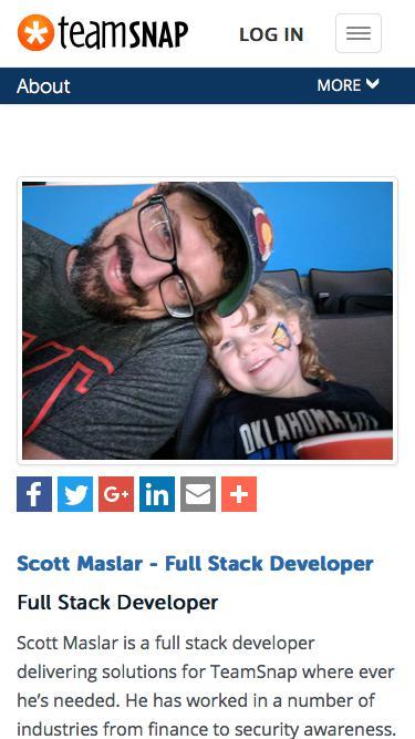 Screenshot of Team Page  teamsnap.com - Scott Maslar - Full Stack Developer