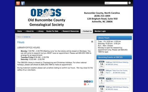 Screenshot of Hours Page obcgs.com - Hours » OBCGS - captured March 10, 2016
