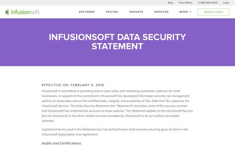 Infusionsoft Data Security Statement