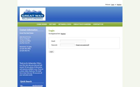 Screenshot of Login Page greatwayrealestate.com - Denver Homes for Sale, Property Search in Denver - User Login - captured Sept. 27, 2014