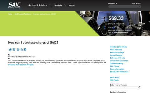 Screenshot of FAQ Page saic.com - How can I purchase shares of SAIC?  | SAIC - captured Aug. 18, 2017