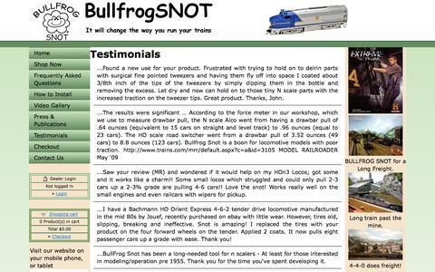 Screenshot of Testimonials Page bullfrogsnot.com - Untitled Document - captured Oct. 5, 2014