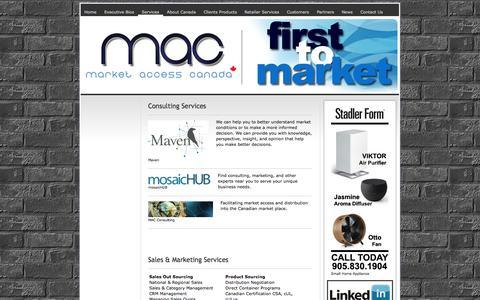 Screenshot of Services Page marketaccesscanada.com - Services - ||Market Access Canada || Manufacturer's Sales Agents - Representatives for Canada - captured Oct. 27, 2014