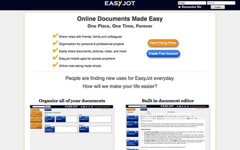 Screenshot of Home Page easyjot.com - EasyJot - Share Notes With Colleagues, Classmates, and Friends. - captured Sept. 19, 2014