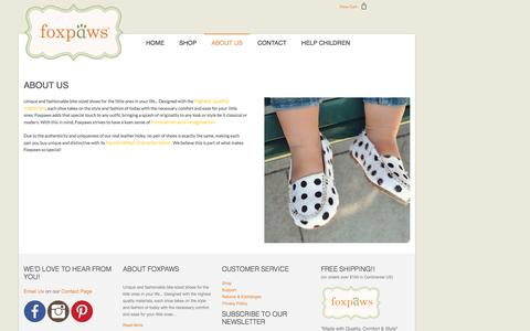 Screenshot of About Page foxpawsshoes.com - About Us - captured Nov. 25, 2016