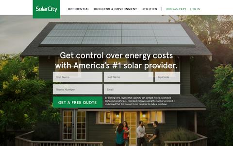 Screenshot of Home Page solarcity.com - Solar – Solar Energy Efficiency | SolarCity - captured Oct. 14, 2016