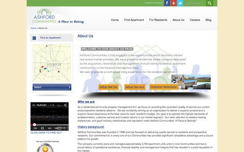 Screenshot of About Page ashfordco.com - Property Management Houston | Ashford Communities - captured Feb. 6, 2016