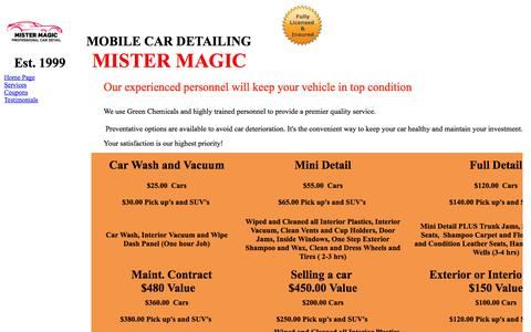 Screenshot of Services Page mrmagiccardetail.com - Services - captured Oct. 26, 2014