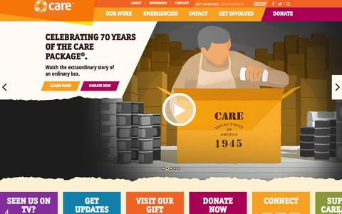 Screenshot of Home Page care.org - CARE | A Leading Humanitarian Organization Fighting Global Poverty - captured Jan. 19, 2016
