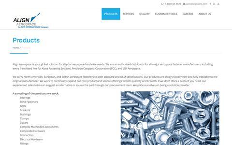 Screenshot of Products Page alignaero.com - Products - Align Aerospace - captured Nov. 20, 2016