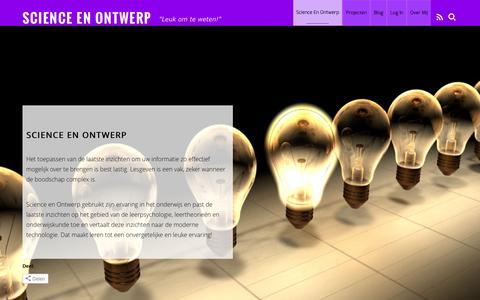 """Screenshot of Home Page science-ontwerp.nl - Science en Ontwerp – """"Leuk om te weten!"""" - captured Nov. 19, 2016"""