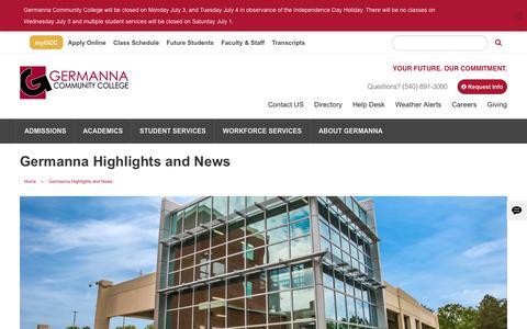 Screenshot of Blog germanna.edu - Germanna Highlights and News   Germanna Community College - captured July 2, 2017