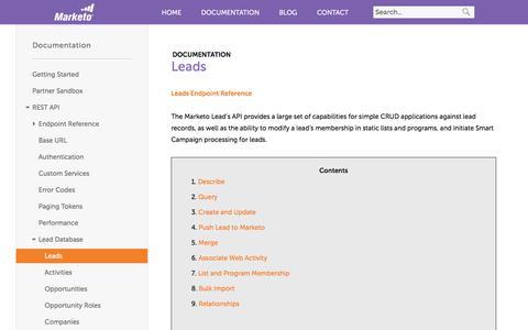 Screenshot of marketo.com - Leads - Marketo Developers - captured June 8, 2017
