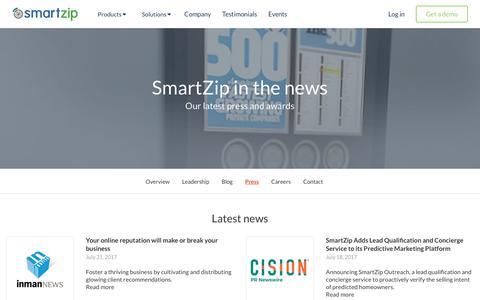 Screenshot of Press Page smartzip.com - Press | SmartZip - captured Aug. 7, 2017