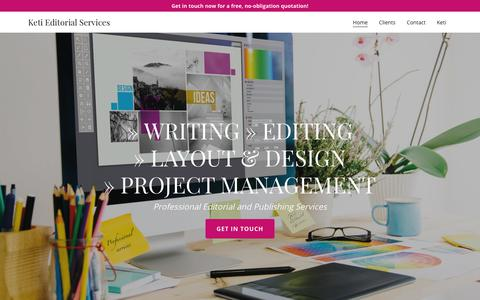 Screenshot of Home Page ketiedits.com - Keti Editorial Services - Editorial, Publishing, Editing - captured Oct. 15, 2018