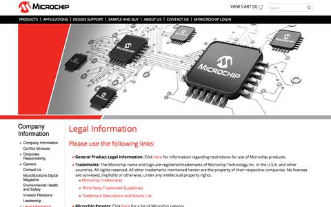 Screenshot of Terms Page microchip.com - Legal Information Overview | Microchip Technology - captured April 9, 2018