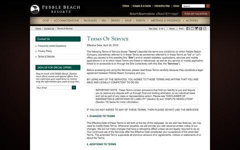 Screenshot of Terms Page pebblebeach.com - Terms of Service: Pebble Beach Company - captured Jan. 26, 2016