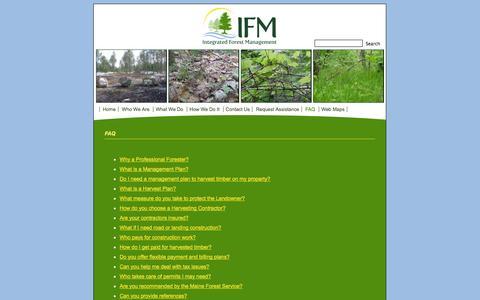 Screenshot of FAQ Page ifmgt.com - Integrated Forest Management; forest management, consulting forester, turner, maine   » FAQ - captured Oct. 6, 2014