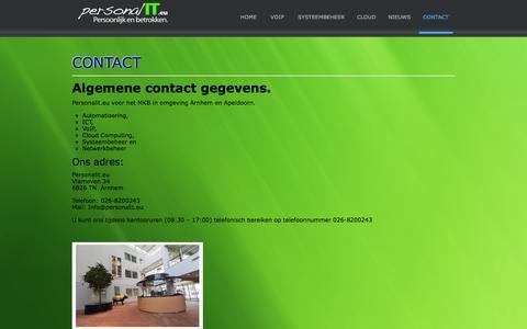 Screenshot of Contact Page personalit.eu - Contact - PersonalIT Automatisering ICT Arnhem Apeldoorn - captured Jan. 27, 2016