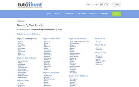 Screenshot of Locations Page tutorhunt.com - Browse Tutors By Location - captured Nov. 24, 2016