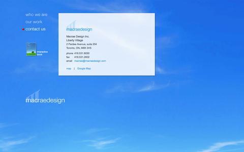 Screenshot of Contact Page macraedesign.com - Macrae Design : Contact Us - captured Oct. 3, 2014