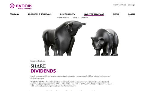 Evonik Industries - Specialty Chemicals - Investor Relations - Evonik Industries AG