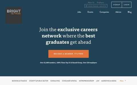 Screenshot of Home Page brightnetwork.co.uk - Graduate Careers | Graduate Careers For Bright Minds | Bright Network - captured Sept. 23, 2014