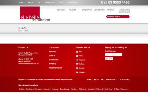 Screenshot of Blog ellebelle.com.au - Blog elle belle recruitment | elle belle - captured Oct. 3, 2014