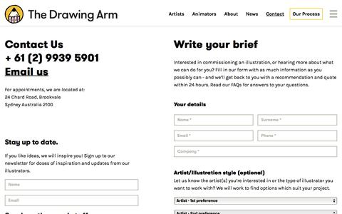 Screenshot of Contact Page thedrawingarm.com.au - Contact - The Drawing Arm :: Illustration Agency - captured July 12, 2019